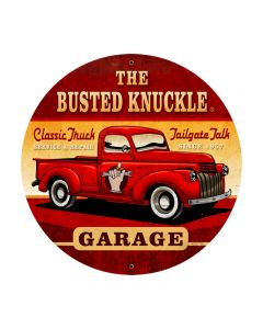 Old Truck, Automotive, Round Metal Sign, 28 X 28 Inches