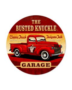 Old Truck, Automotive, Round Metal Sign, 14 X 14 Inches
