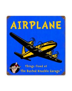 Kids Airplane, Aviation, Vintage Metal Sign, 12 X 12 Inches