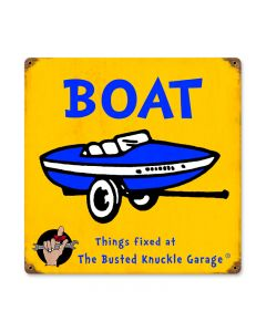 Kids Boat, Sports and Recreation, Vintage Metal Sign, 12 X 12 Inches