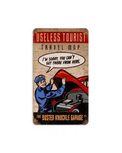 Useless Tourist Map, Automotive, Vintage Metal Sign, 8 X 14 Inches