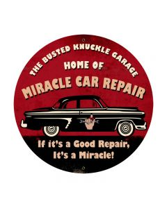 Miracle Car Repair, Automotive, Round Metal Sign, 28 X 28 Inches