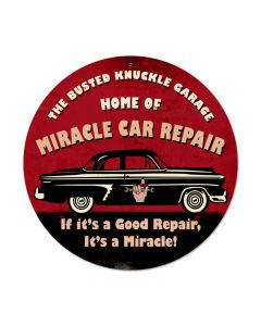 Miracle Car Repair, Automotive, Round Metal Sign, 14 X 14 Inches