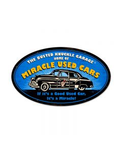 Miracle Used Cars, Automotive, Oval Metal Sign, 24 X 14 Inches