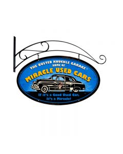 Miracle Used Cars, Automotive, Double Sided Oval Metal Sign with Wall Mount, 24 X 14 Inches