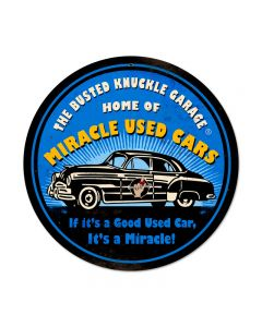 Miracle Used Cars, Automotive, Round Metal Sign, 14 X 14 Inches