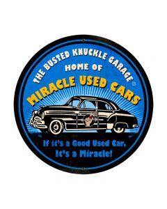 Miracle Used Cars, Automotive, Round Metal Sign, 28 X 28 Inches