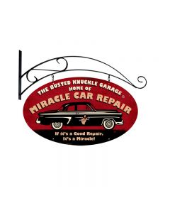 Miracle Car Repair, Automotive, Double Sided Oval Metal Sign with Wall Mount, 24 X 14 Inches