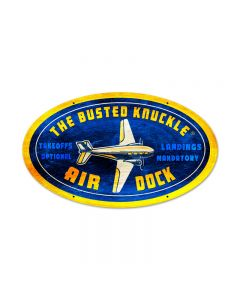 Air Dock, Aviation, Oval Metal Sign, 24 X 14 Inches