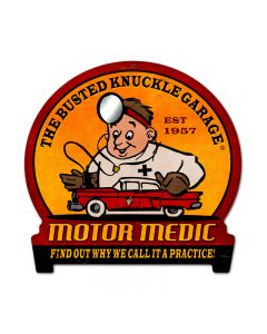 Motor Medic, Automotive, Round Banner Metal Sign, 15 X 16 Inches