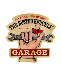 Busted Knuckle Garage, Automotive, Custom Metal Shape, 19 X 19 Inches