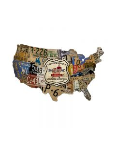 License Plate Map, Automotive, Custom Metal Shape, 25 X 16 Inches