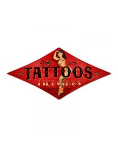 Tattoos, Pinup Girls, Diamond Metal Sign, 12 X 24 Inches
