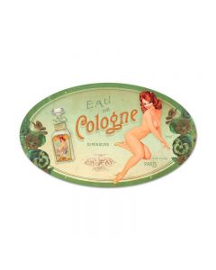 Cologne Pinup, Pinup Girls, Oval Metal Sign, 14 X 24 Inches