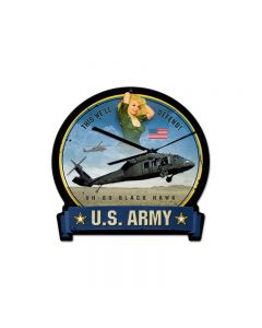 Army Blackhawk, Pinup Girls, Round Banner Metal Sign, 16 X 15 Inches