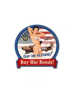 B-25 War Bonds, Pinup Girls, Round Banner Metal Sign, 16 X 15 Inches