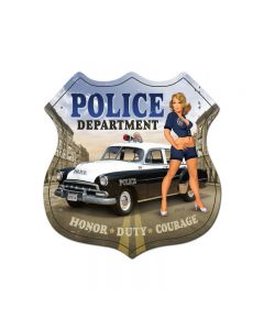 Police Department, Pinup Girls, Shield Metal Sign, 15 X 15 Inches