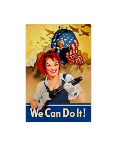 We Can Do It, Pinup Girls, Metal Sign, 36 X 24 Inches