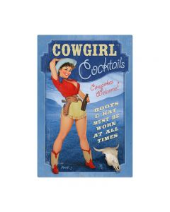 Cowgirl Cocktails, Pinup Girls, Metal Sign, 36 X 24 Inches