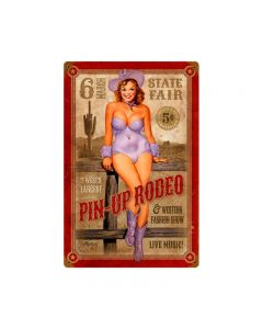 Pin up Rodeo, Pinup Girls, Metal Sign, 12 X 18 Inches