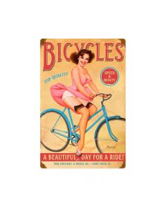 Bicycles, Pinup Girls, Metal Sign, 12 X 18 Inches