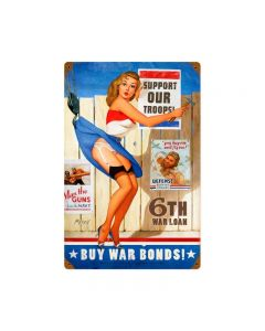Buy War Bonds, Pinup Girls, Metal Sign, 12 X 18 Inches