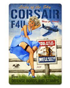Corsair F4U   12 x 18 Vintage Metal Sign, Aviation, Vintage Metal Sign, 12 X 18 Inches