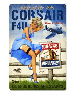 Corsair F4U Large, Aviation, Vintage Metal Sign, 24 X 36 Inches