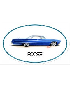 Foose Blue Car, Featured Artists/Chip Foose Signs, Oval, 24 X 14 Inches