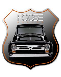 Foose Black Truck, Featured Artists/Chip Foose Signs, SATIN SHIELD METAL SIGN , 15 X 15 Inches