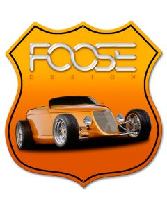 Foose Dragster Orange, Featured Artists/Chip Foose Signs, SATIN SHIELD METAL SIGN , 15 X 15 Inches