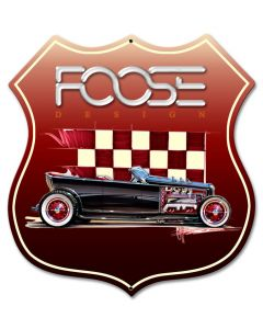 Foose Dragster Red, Featured Artists/Chip Foose Signs, SATIN SHIELD METAL SIGN , 15 X 15 Inches