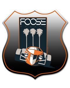 Foose Orange Palm, Featured Artists/Chip Foose Signs, SATIN SHIELD METAL SIGN , 15 X 15 Inches