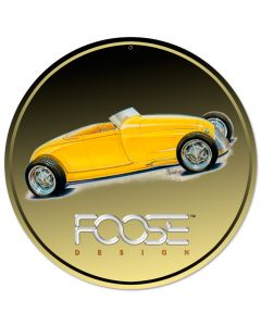 29 Roadster Yellow, Featured Artists/Chip Foose Signs, Round, 14 X 14 Inches