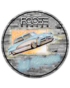 Foose 50 Ford Coupe Blue and White, Featured Artists/Chip Foose Signs, Round, 14 X 14 Inches