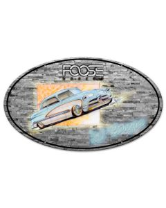 Foose 50 Ford Coupe Blue and White, Featured Artists/Chip Foose Signs, Oval, 24 X 14 Inches