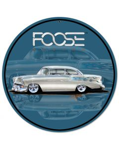 Foose 56 BelAir Silver Satin, Featured Artists/Chip Foose Signs, Round, 14 X 14 Inches