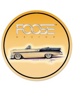 Foose 56 BelAir Yellow and Black, Featured Artists/Chip Foose Signs, Round, 14 X 14 Inches