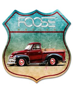 54 Red Truck, Featured Artists/Chip Foose Signs, Shield, 28 X 28 Inches
