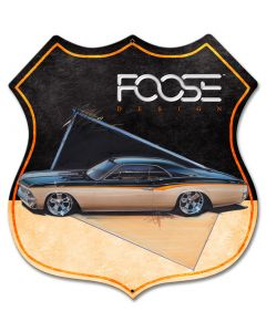66 Black and Yellow Car, Featured Artists/Chip Foose Signs, Shield, 28 X 28 Inches