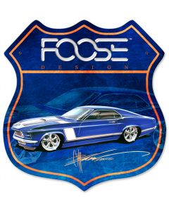 70 Blue Race Car, Featured Artists/Chip Foose Signs, Shield, 15 X 15 Inches