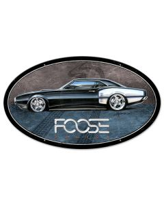 68 Black and White Sports Car, Featured Artists/Chip Foose Signs, Oval, 24 X 14 Inches