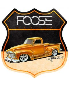 52 Yellow Truck, Featured Artists/Chip Foose Signs, Shield, 15 X 15 Inches