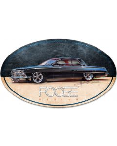 62 Black low Riding Car, Featured Artists/Chip Foose Signs, Oval, 40 X 25 Inches