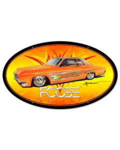 Orange With Flames Car, Featured Artists/Chip Foose Signs, Oval, 24 X 14 Inches