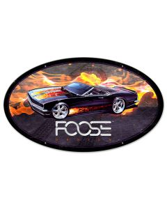 68 Black With Flames Car, Featured Artists/Chip Foose Signs, Oval, 24 X 14 Inches