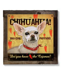 Chihuahua, Chili Peppers, Dog, METAL Sign, Optional Reclaimed BarnWood Frame, American Steel, Wall Decor, Wall Art