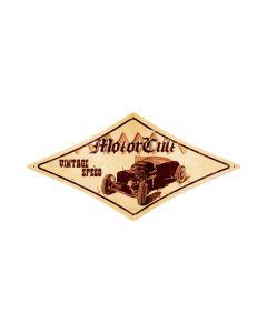 Vintage Speed, Automotive, Diamond Metal Sign, 14 X 24 Inches