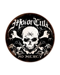 No Mercy, Automotive, Round Metal Sign, 14 X 14 Inches