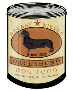 Dachshund Greasy Wiener Dog Food, Wall Decor, 100% Beef, Can Metal Sign